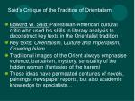 said s critique of the tradition of orientalism