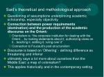 said s theoretical and methodological approach