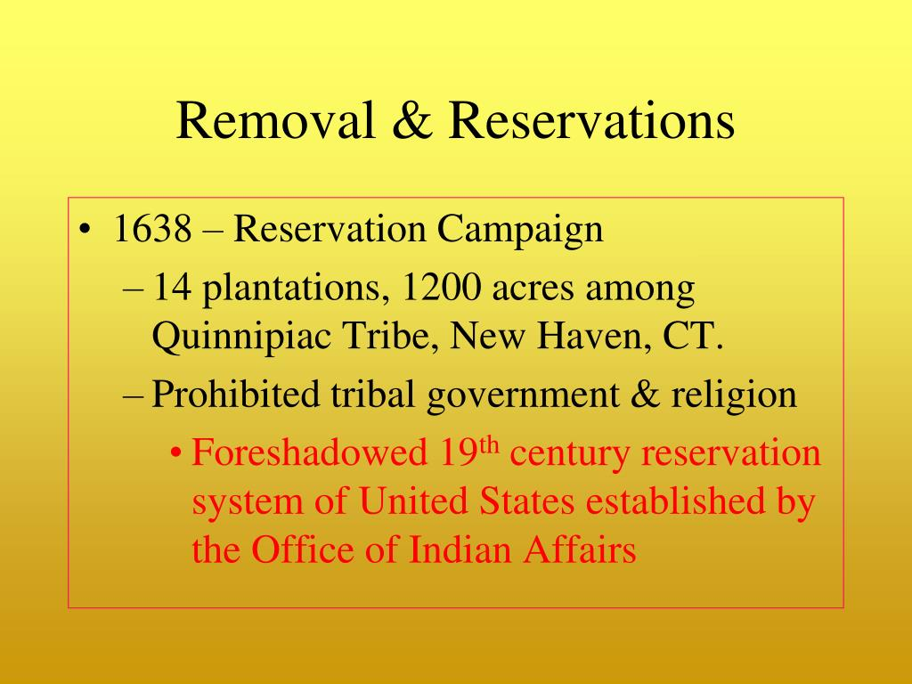 Removal & Reservations