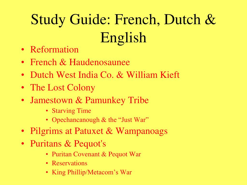 Study Guide: French, Dutch & English