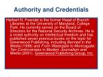authority and credentials