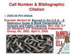 call number bibliographic citation