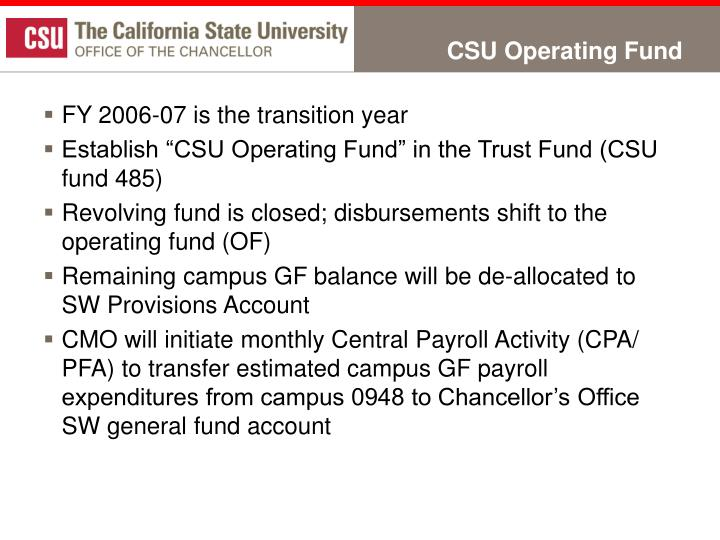 Csu operating fund