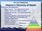 for your reference maslow s hierarchy of needs