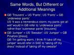same words but different or additional meanings