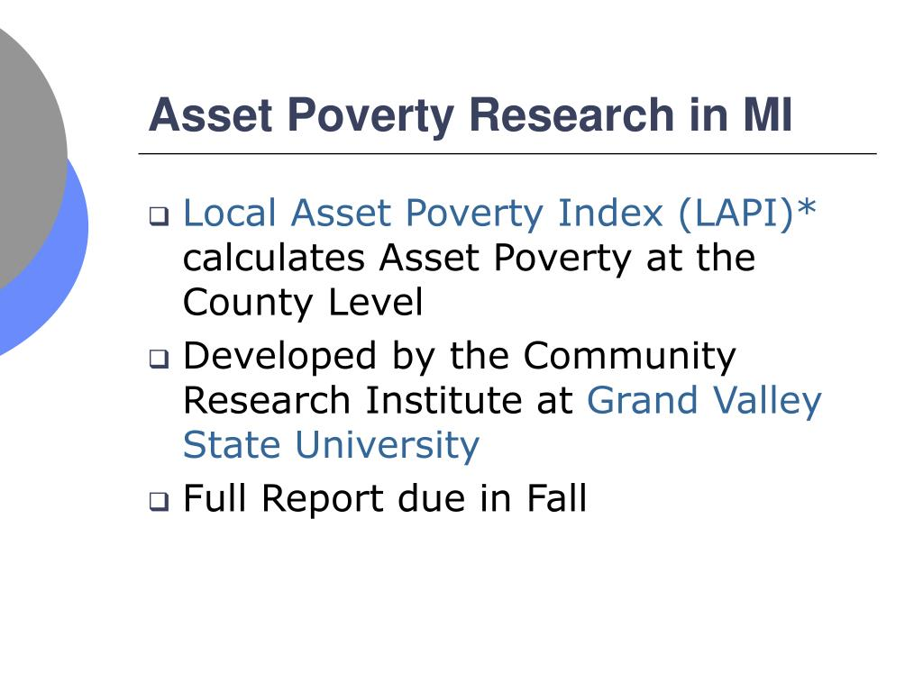 Asset Poverty Research in MI