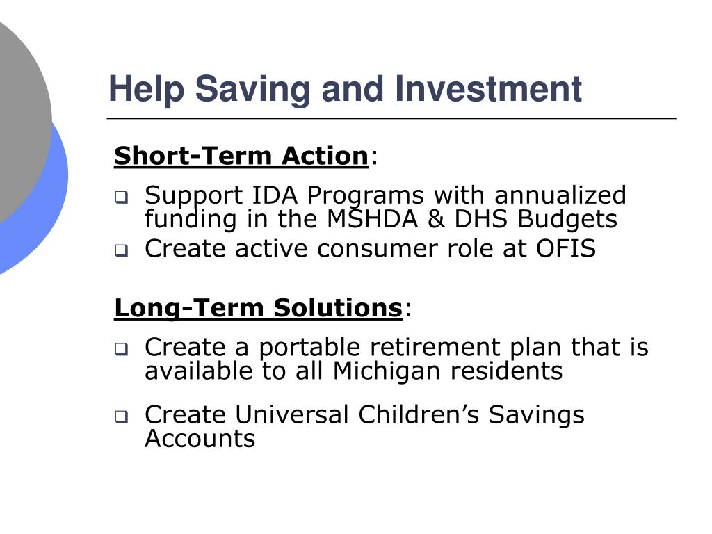 Help Saving and Investment