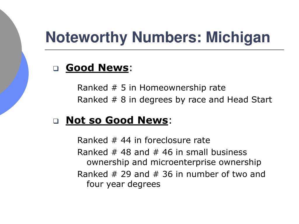 Noteworthy Numbers: Michigan