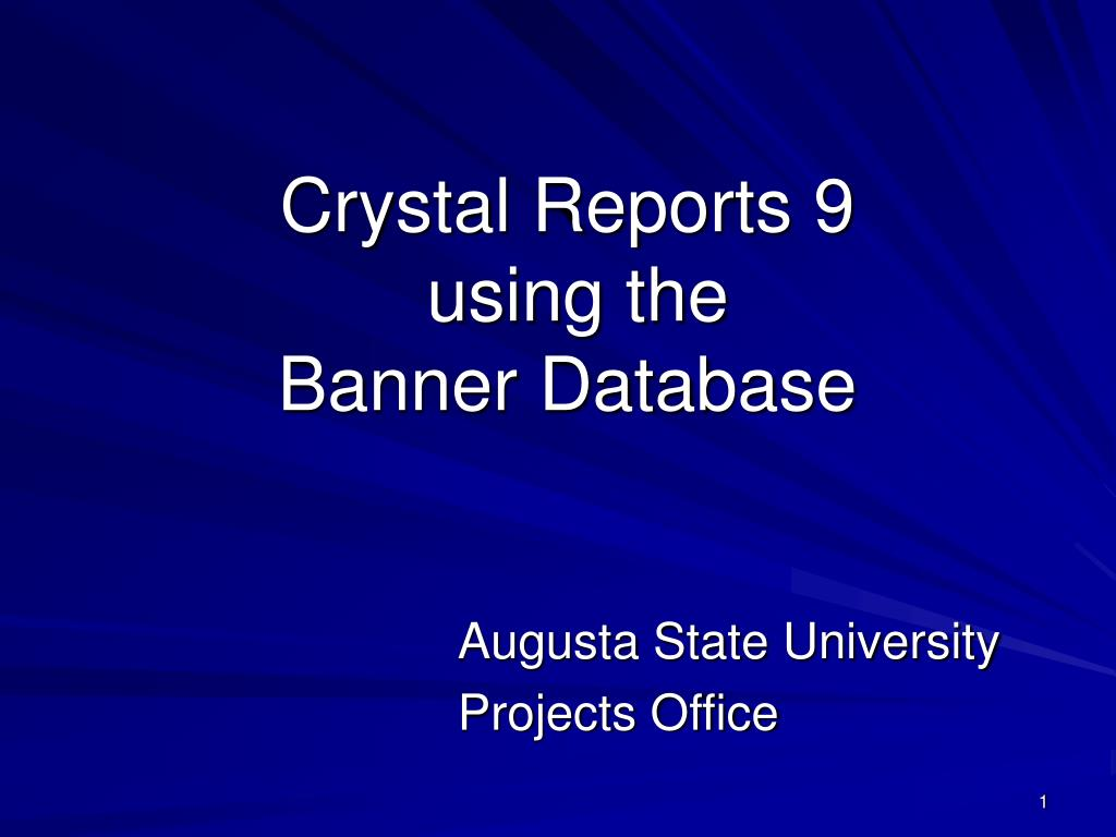 crystal reports 9 using the banner database l.