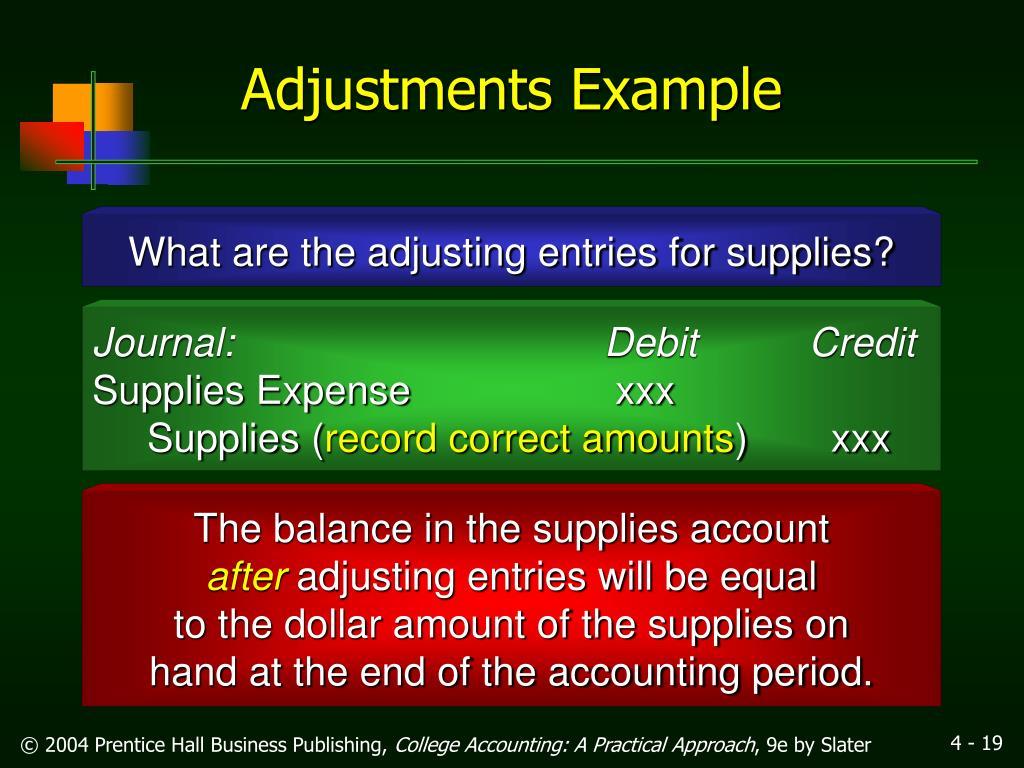 Adjustments Example