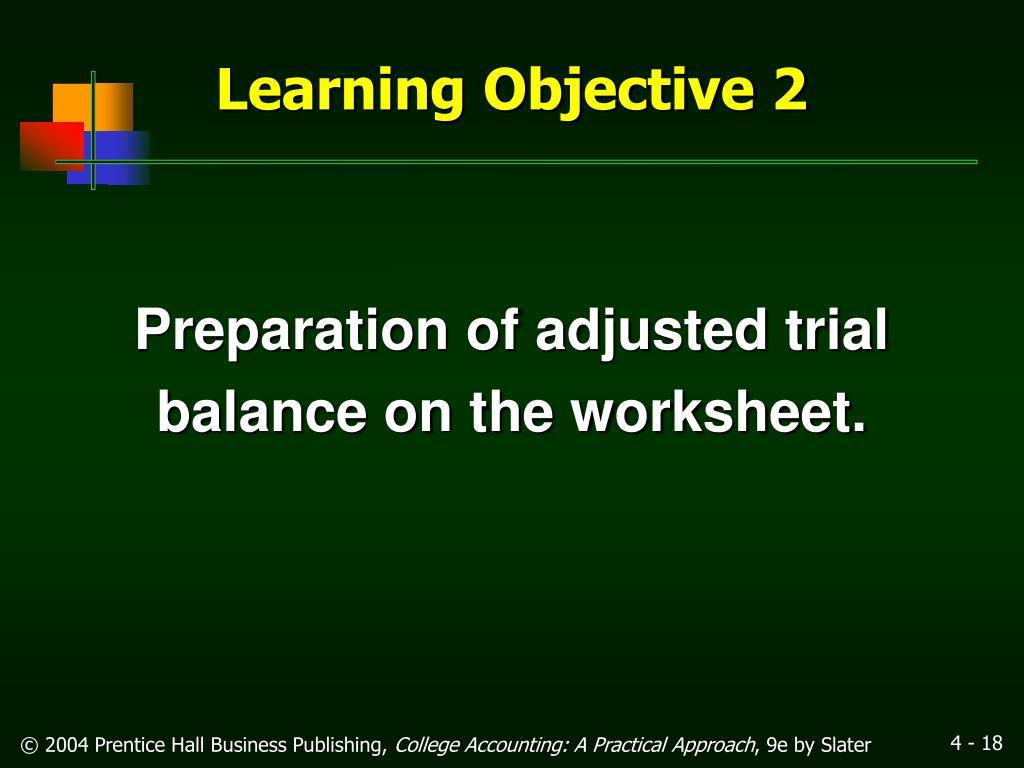 Preparation of adjusted trial