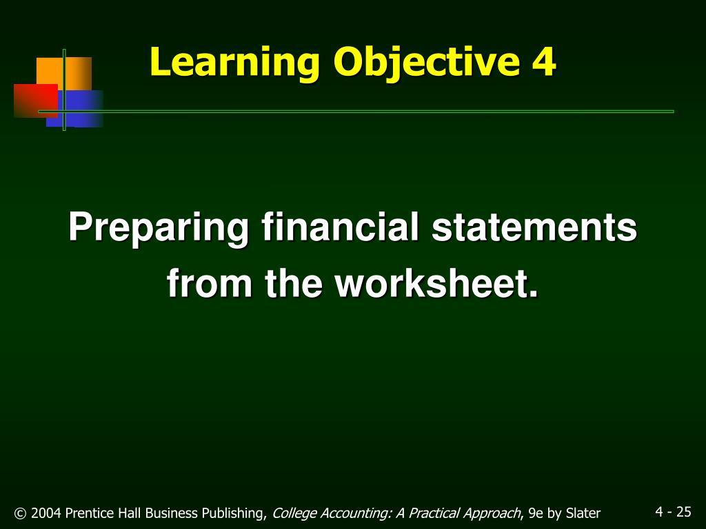 Preparing financial statements