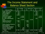 the income statement and balance sheet section