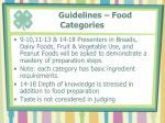 guidelines food categories