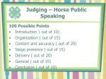 judging horse public speaking