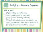 judging oudoor cookery
