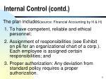 internal control contd