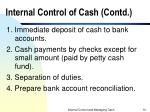 internal control of cash contd