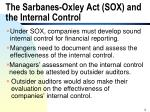 the sarbanes oxley act sox and the internal control