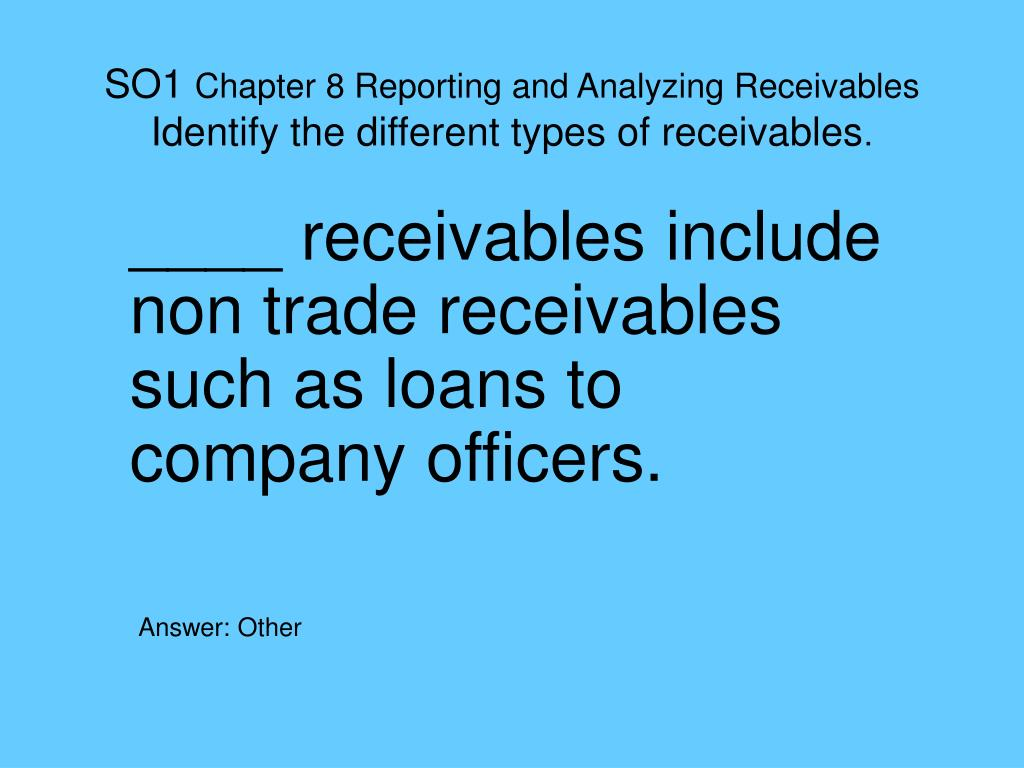 so1 chapter 8 reporting and analyzing receivables identify the different types of receivables l.
