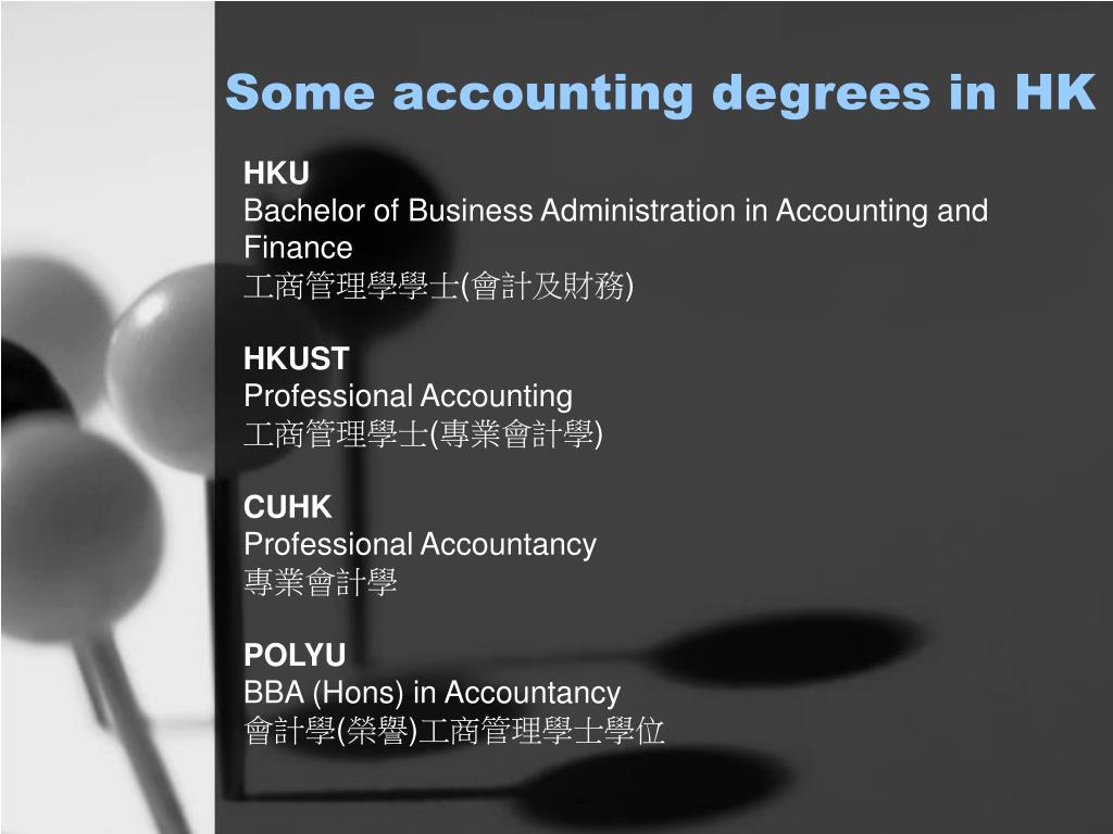 Some accounting degrees in HK