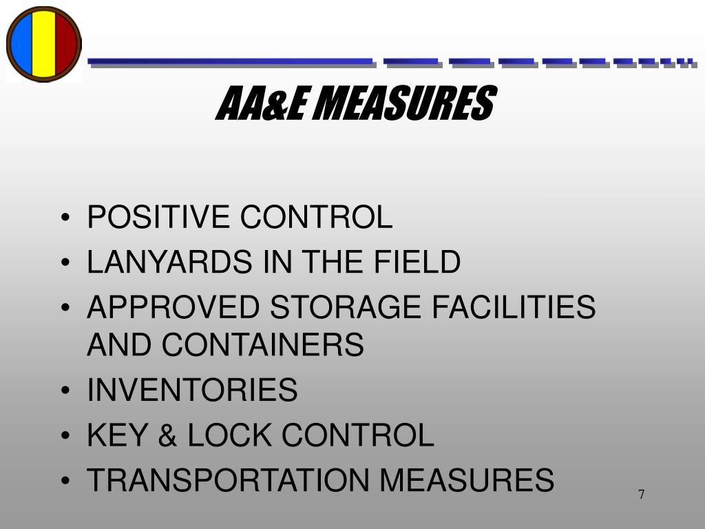 AA&E MEASURES
