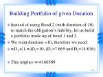 building portfolio of given duration