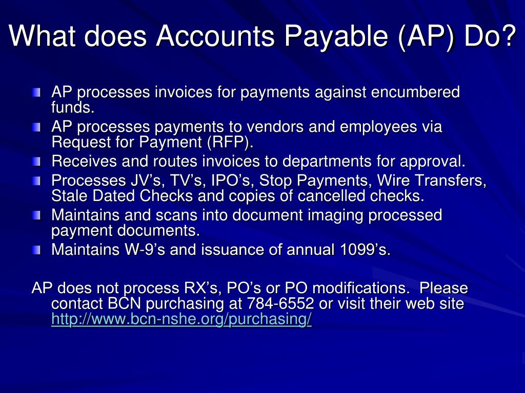 What does Accounts Payable (AP) Do?