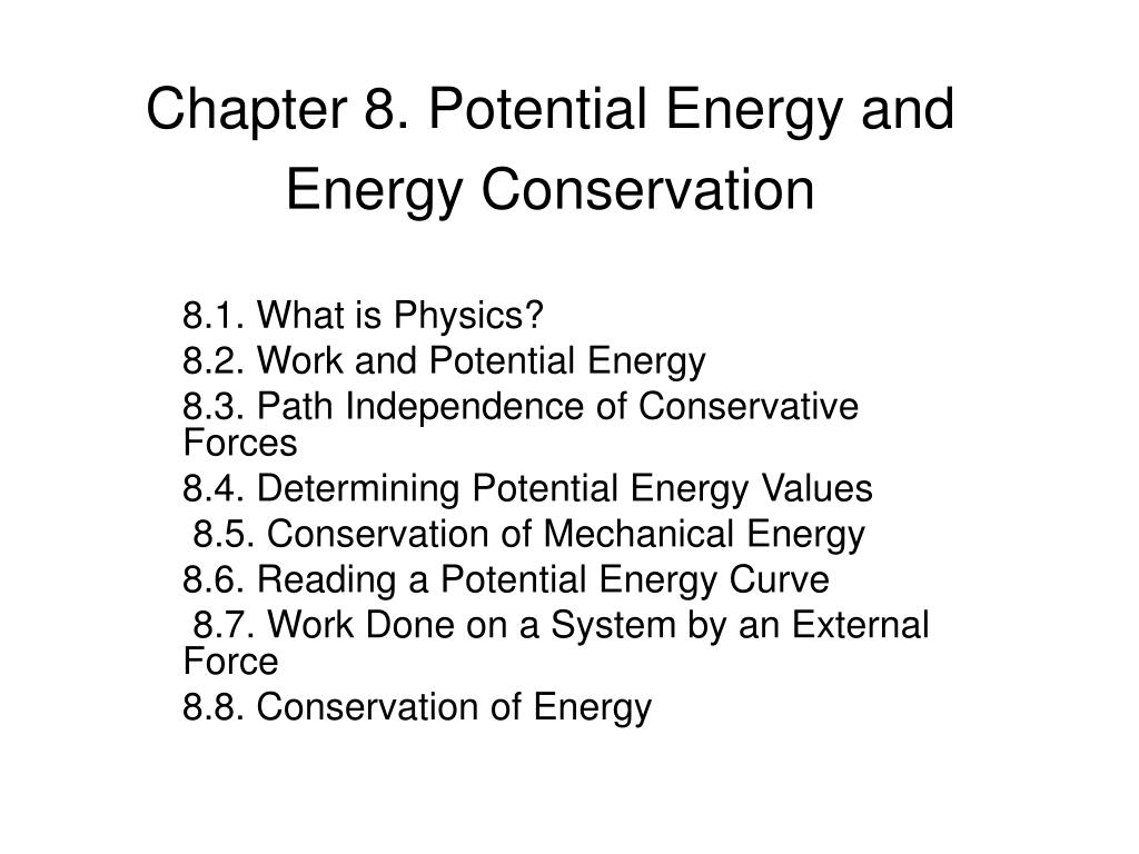chapter 8 potential energy and energy conservation l.