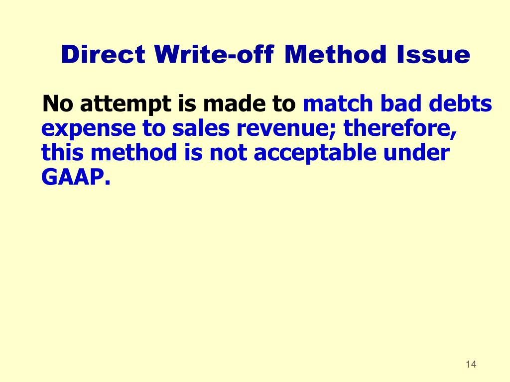 Direct Write-off Method Issue