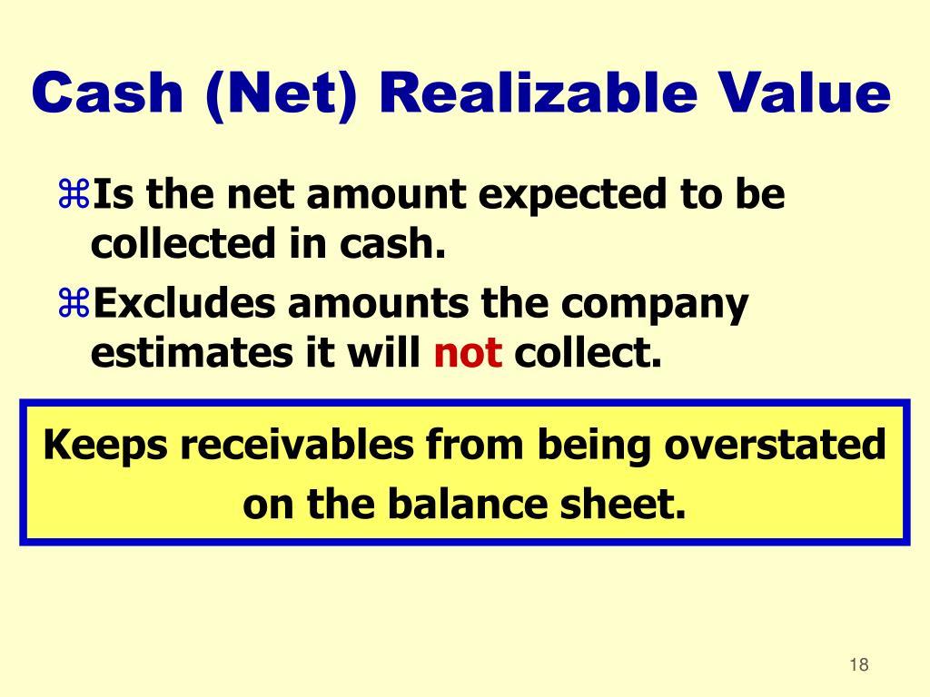 Cash (Net) Realizable Value