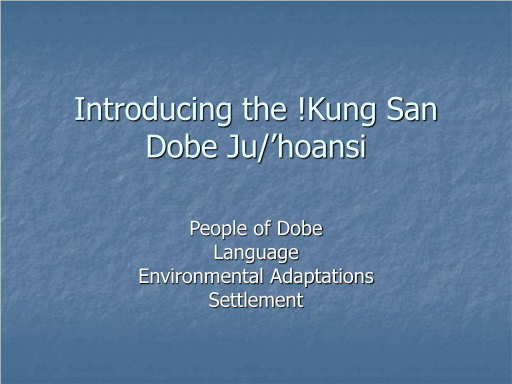 introducing the kung san dobe ju hoansi l.