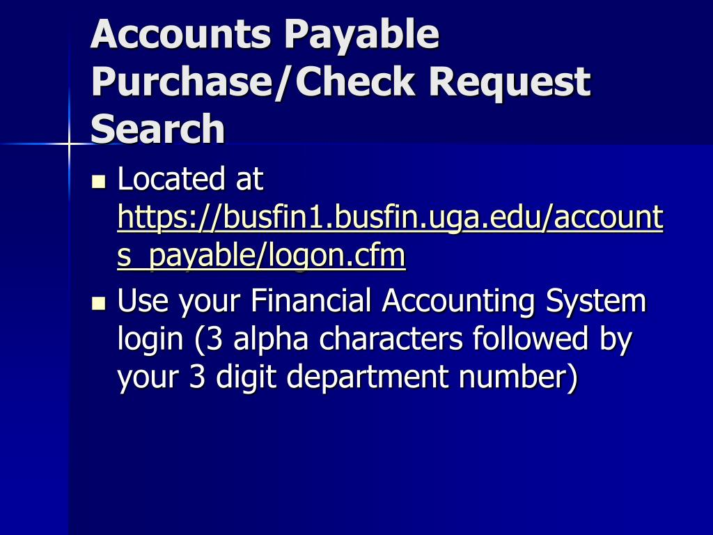 Accounts Payable Purchase/Check Request Search
