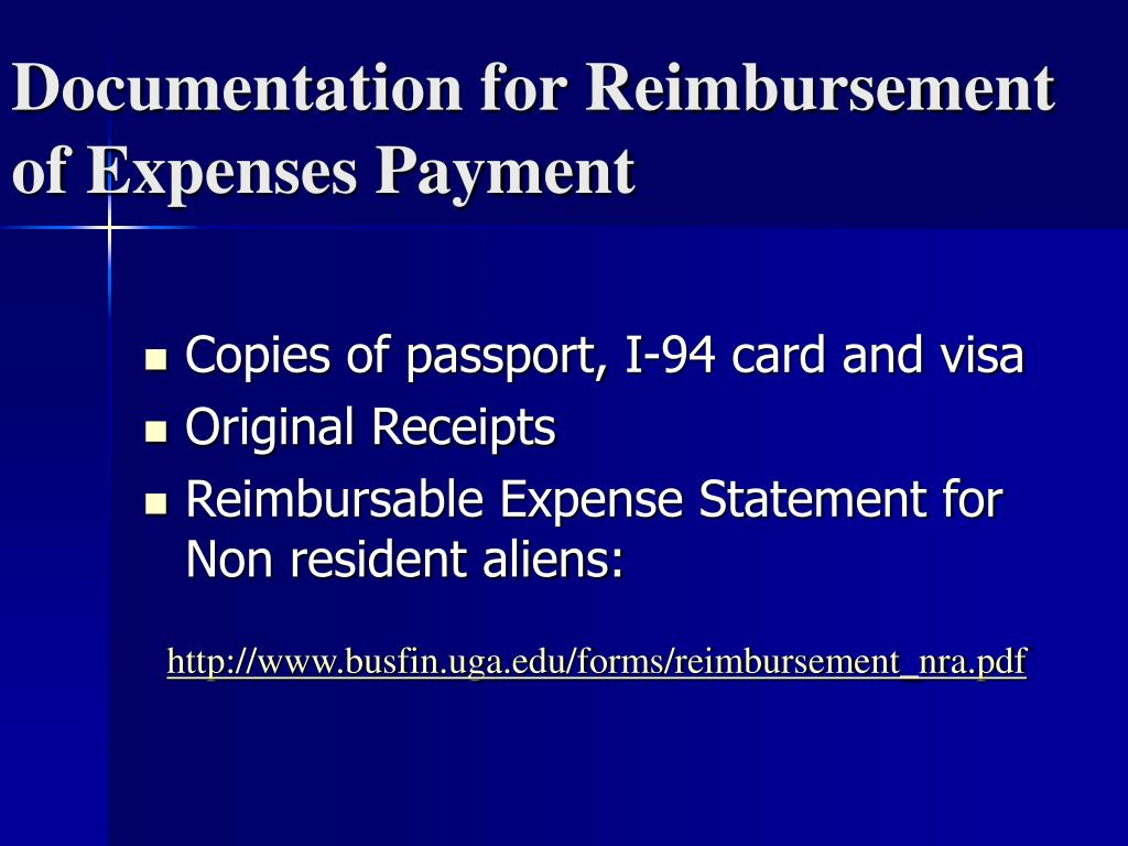 Documentation for Reimbursement