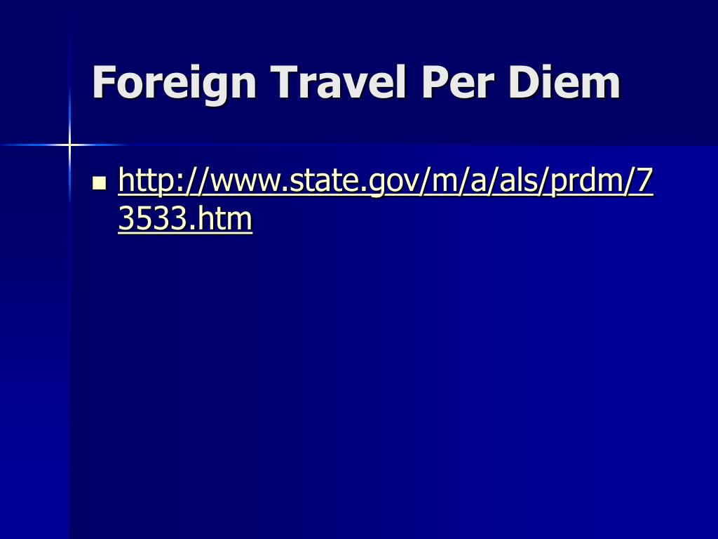 Foreign Travel Per Diem