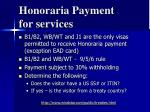 honoraria payment for services