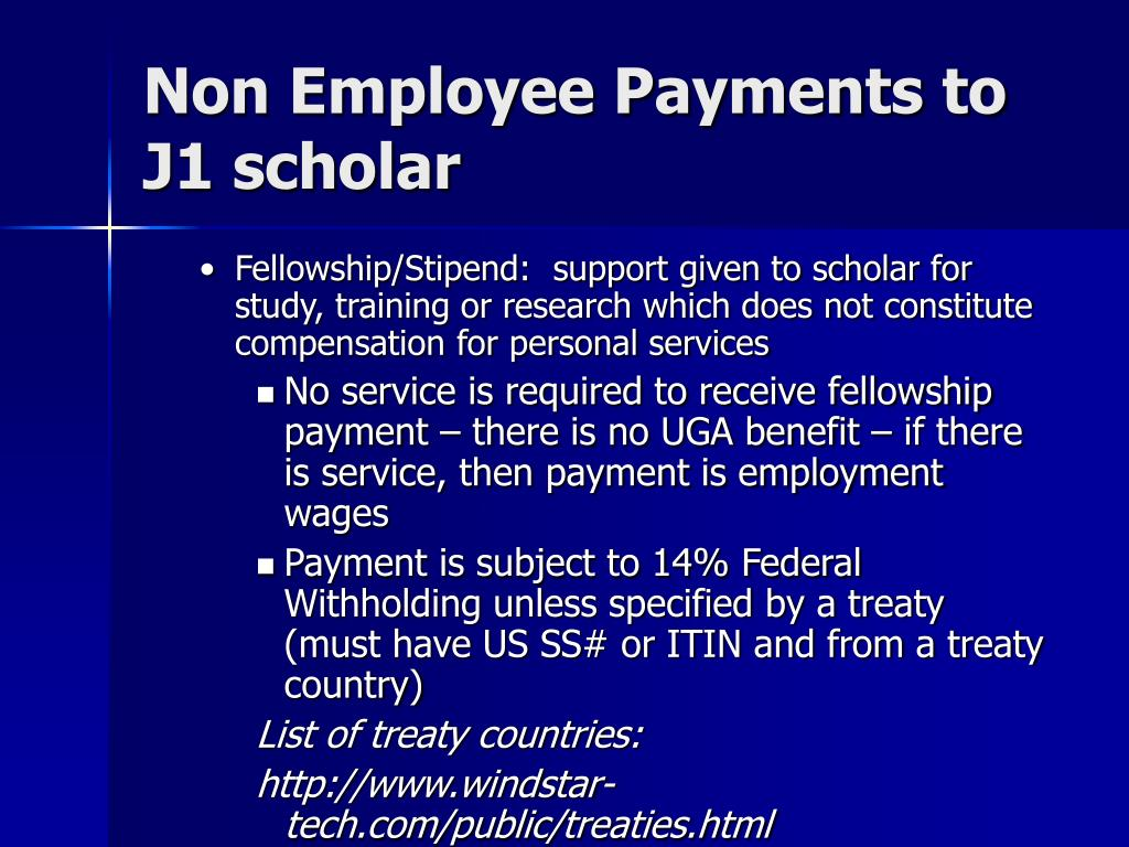 Non Employee Payments to J1 scholar