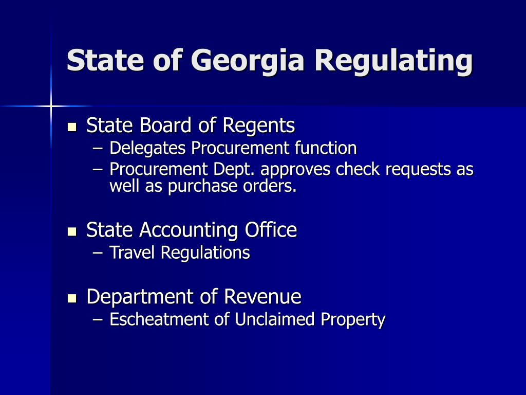 State of Georgia Regulating