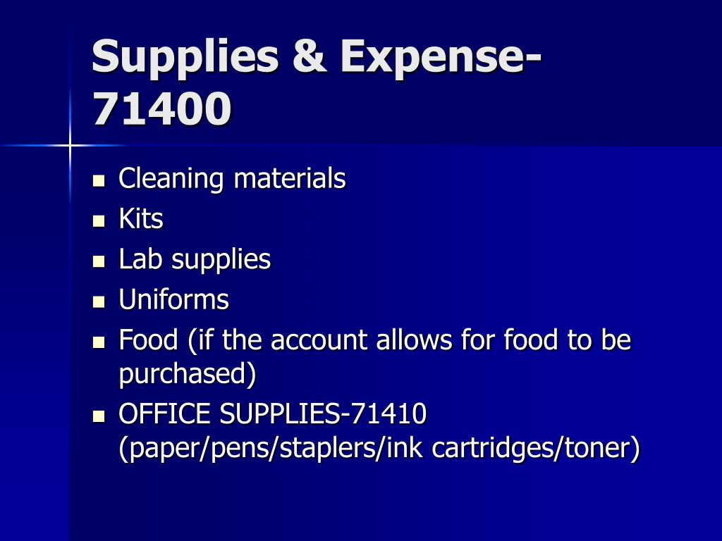 Supplies & Expense-71400