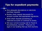 tips for expedient payments