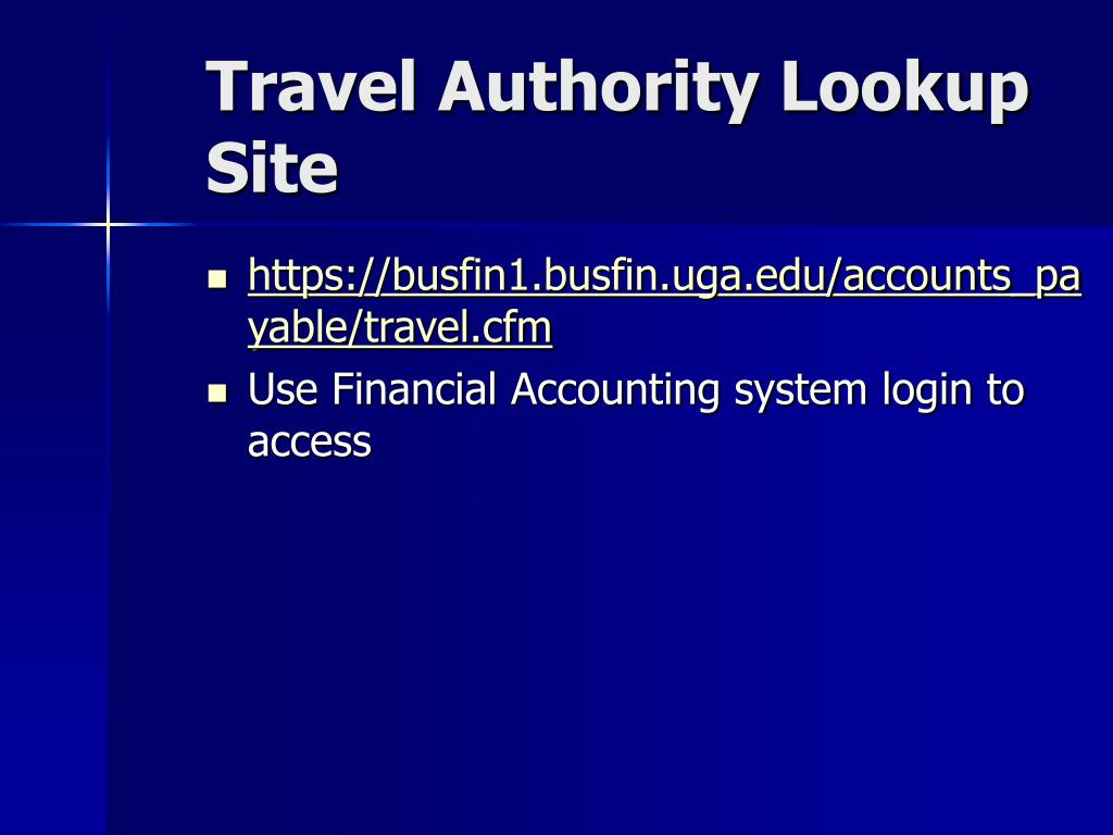 Travel Authority Lookup Site