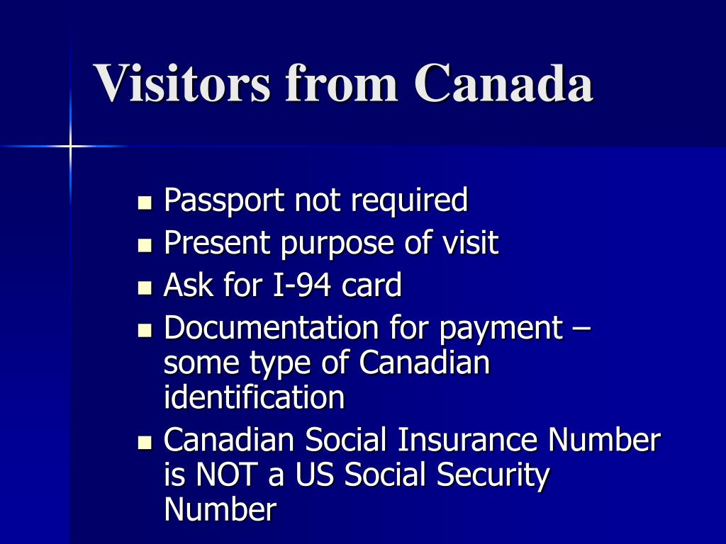 Visitors from Canada
