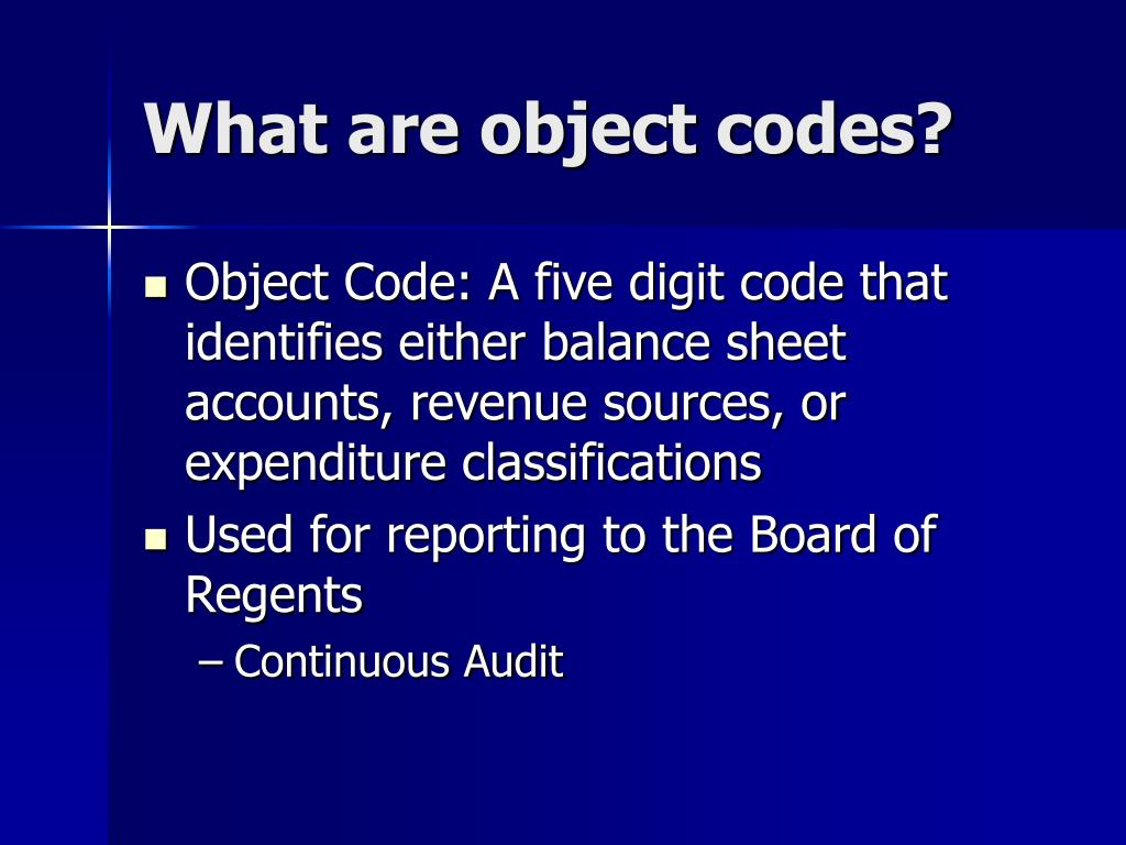 What are object codes?