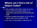 where can i find a list of object codes