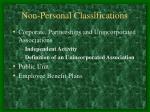 non personal classifications