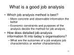 what is a good job analysis