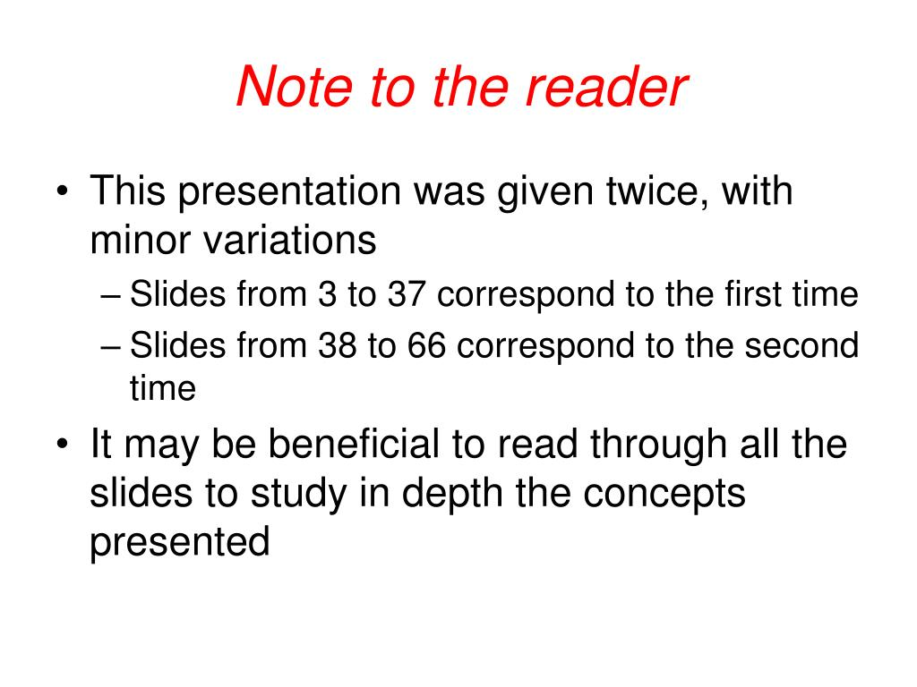 Note to the reader