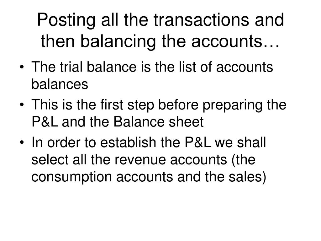 Posting all the transactions and then balancing the accounts…