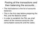 posting all the transactions and then balancing the accounts