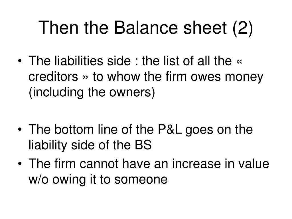Then the Balance sheet (2)